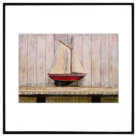 Wooden Ship on Mantel